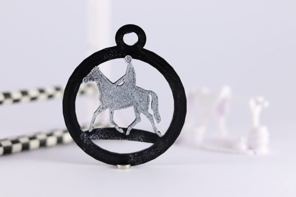 3D printed horse and rider round keyring black PLA