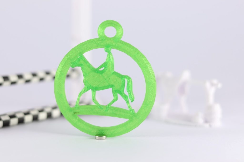 3D printed horse and rider round keyring transparent green