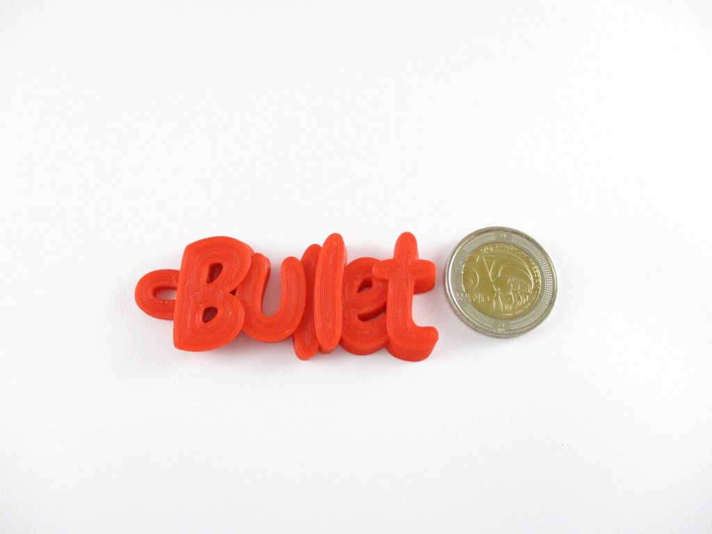 3D printed name keychain - Bullet - with South African R5.00 coin for product sizing purposes