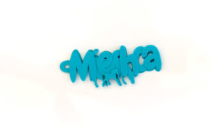 3D printed mieshca mother and foal keyring sky blue pla