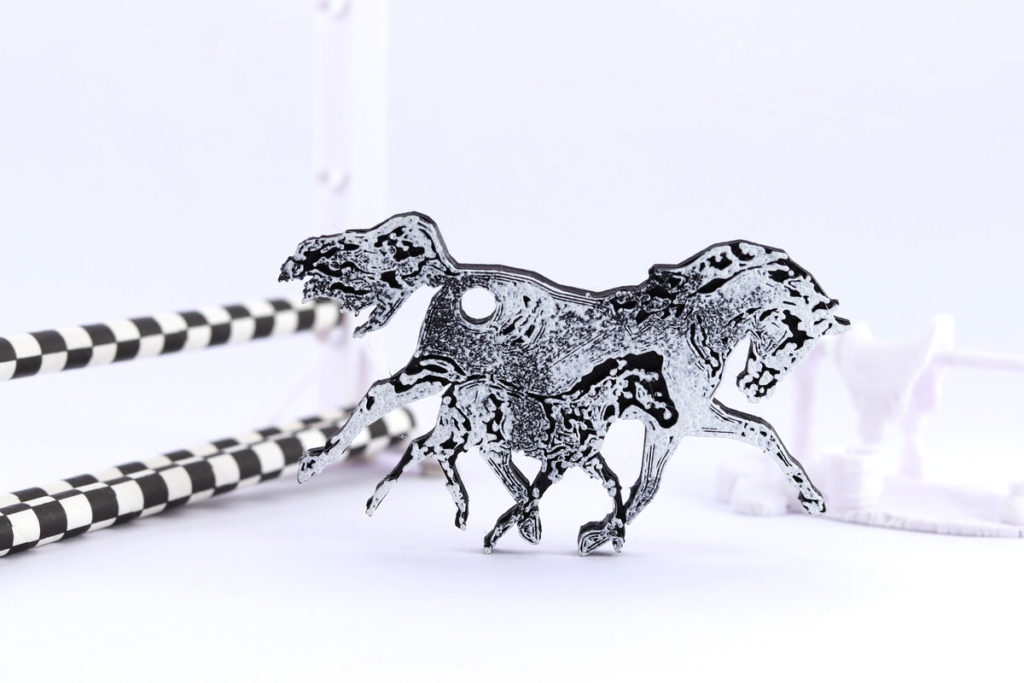 3D printed mother and foal keyring