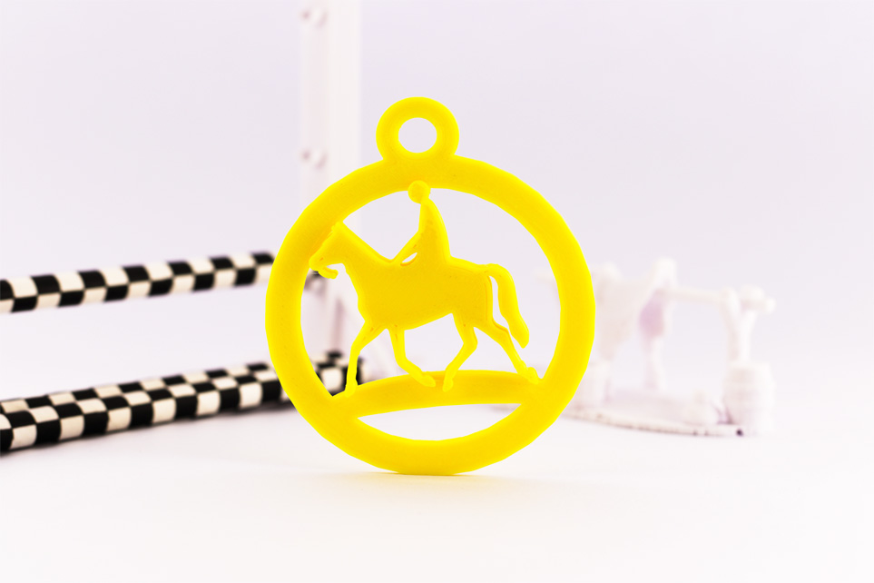 yellow pla round horse and rider keyring